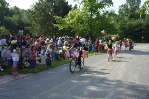 Children ride their bikes in the Fairhaven bicycle parade